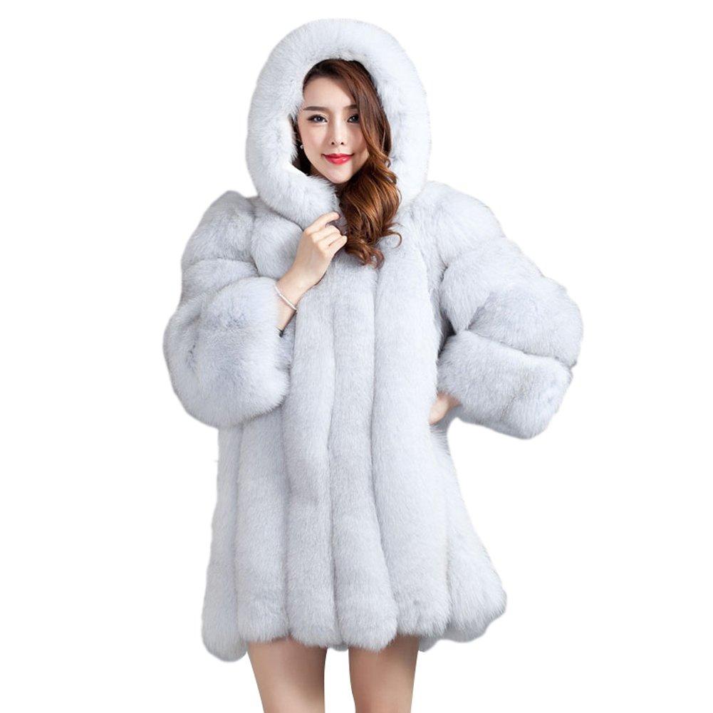 Top Fur Women Hooded Whole Skin Fox Fur Winter Coat Jacket US 12