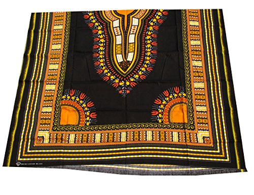 RaanPahMuang African Dashiki Black Cotton Fabric Suitable for 1 Shirt Design, Yellow