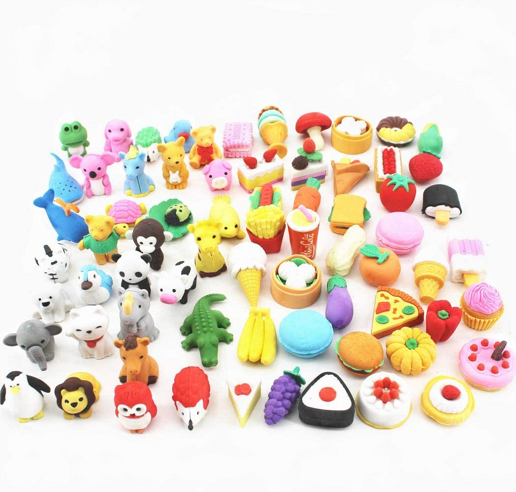 ArtioHipo 70PCS Animal Pencil Erasers Japanese Puzzle Food Removable Assembly Erasers for Kids Party Gifts School Games Prizes Classroom Rewards and Novelty Toys Cute Erasers Set(Random Designs)…