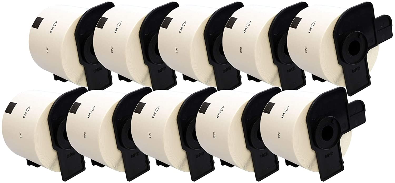 compatibile per Brother P-Touch QL-500 QL-550 QL-560 QL-570 QL-700 QL-710W QL-720NW QL-800 QL-810W QL-820NWB QL-1050 QL-1100 QL-1110NWB 300 Etichette per Rotolo 5 x DK11202 62mm x 100mm Etichette