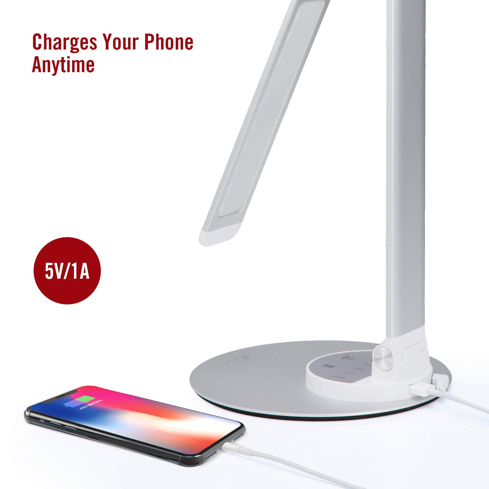 TaoTronics Aluminum Alloy Dimmable Dimmable LED Desk Lamp with USB Charging Port, Table Lamp for Office Lighting, 3 Color Modes & 6 Brightness Levels, Silver, Philips Enabled Licensing Program by TaoTronics (Image #4)