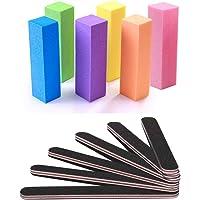 Nail Files and Buffer, CNZON Professional Manicure Tools Kit Rectangular Art Care Buffer Block Tools 100/180 Grit 12Pcs…