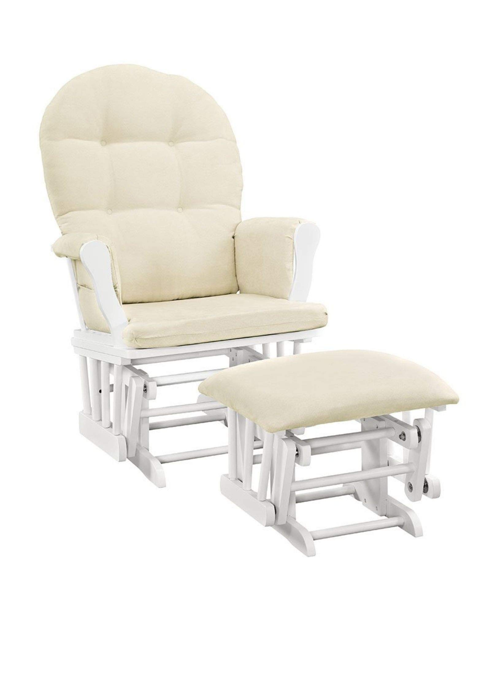 Angel Line Windsor Glider and Ottoman White Finish and Beige Cushions (1 Pack,White with Beige) by Angel Line
