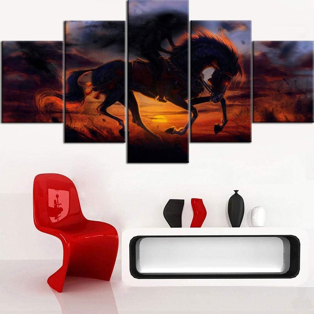 GBUIHZK Cuadros modulares Arte de la Pared 5 Piezas Caballo Animal Lienzo Pintura para Sala de Estar Decoración del hogar Obra de Arte Cartel B-150X80Cm-Sin Marco