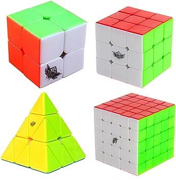 MZStech Cyclone Boys Cubo mágico Set 4 Pack 2x2x2 3x3x3 5x5x5 Pyraminx Cubo sin Etiqueta Color Verdadero: Amazon.es: Juguetes y juegos