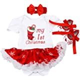 First Christmas Outfit Newborn Baby Toddler Girl Dress Up Costume Reindeer Romper Tutu Dress Headband Shoes 3PCS Set…