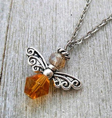 Honey Bee Charm Necklace - Angel Charm Pendant - Honey Angel Pendant - Topaz and Champagne Colored Bee Charm- Tibetan Silver Bee - Bumble Bee Charm - Heart Chakra - November birthstone
