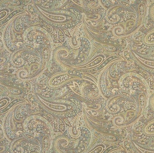 Blue Aqua and Light Green Abstract Paisley Damask Upholstery Fabric by the yard (Aqua Paisley Fabric)