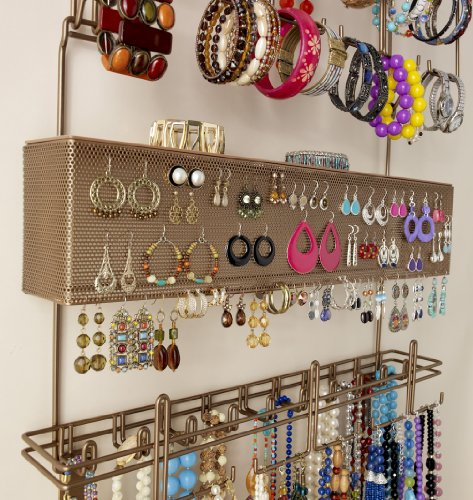 Amazoncom Longstem Overdoor Wall Jewelry Organizer in Bronze