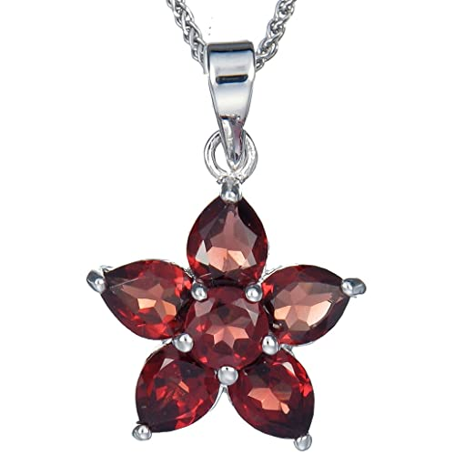 Sterling Silver Garnet Flower Pendant 1.60 CT With 18 Inch Chain