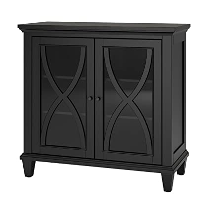 Amazon Com Accent Storage Cabinet With 2 Glass Doors Contemporary
