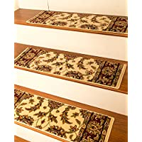 NaturalAreaRugs Sydney Carpet Stair Treads Rug (Set of 13), 9 x 29, Cream