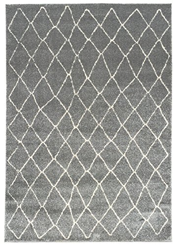 vintage moroccan trellis 5u0027 x 7u0027 59 inch by 83 inch grey area rug zahra collection luxury frieze pile