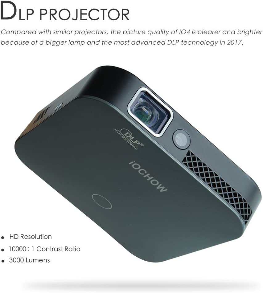 iOCHOW IO4 Mini Proyector, 1080P HD Con DLP 3000 Lúmenes ...