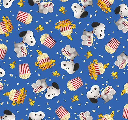 Peanuts Fabric Popcorn and Peanuts Fabric Snoopy Woodstock in Blue from Quilting Treasures 100% Premium Cotton Fabric by The Yard -