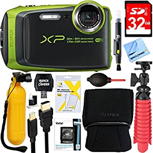 Fujifilm FinePix XP120 Compact Rugged Waterproof Digital Camera (Lime) + 32GB Deluxe Accessory Bundle
