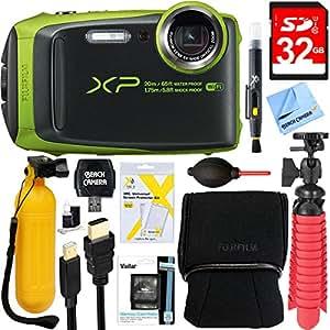 Fujifilm FinePix XP120 Compact Rugged Waterproof Digital Camera (Lime) + 32GB Deluxe Accessory Bundle