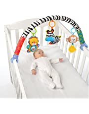 Singring Baby Arch Pram Crib Activity Cloth Animal Toy Pram Activity Bar with Rattle/Squeak (Zebra)