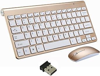 Teclado Inalámbrico y Mouse, EONANT Teclado 2.4G y Mouse Combo Set Ratón Ajustable Compacto de Tamaño Completo para DPI, Windows, Surface, Android Smart TV-UK Layout (Oro): Amazon.es: Iluminación