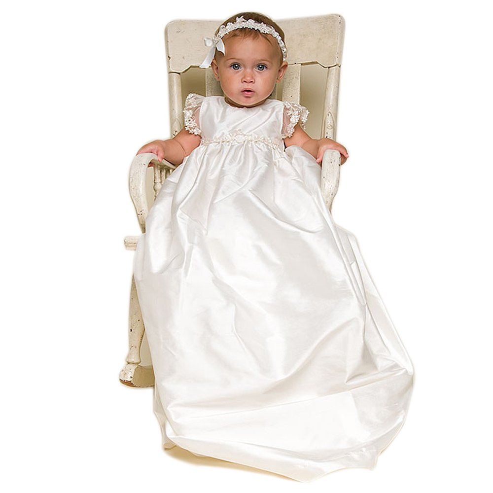 Royal Christening Gowns Baby Girl Baptism Dress Baby Long Dress With Bonnet Headband