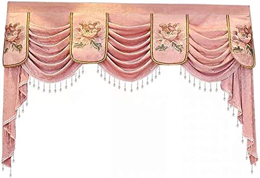 Gxi Customized Chenille Waterfall Valance to Match European Curtain Drapes Blackout Curtain Luxury Curtain Drapes Rod Pocket Top Thermal Insulation Tier Swag