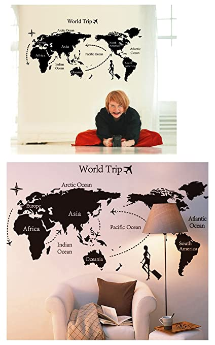 Buy molessi decals world map home wall stickers room decor pvc molessi decals world map home wall stickers room decor pvc vinyl 60cm gumiabroncs Image collections