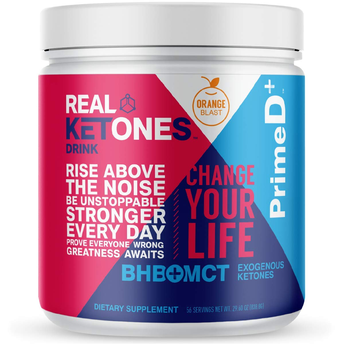 Real Ketones Prime D+ BHB (Beta-Hydroxybuterate) and MCT Exogenous Ketone Powder Supports Ketogenic Diet, Energy Boost, Mental Clarity (Orange Blast) (56 Serving)