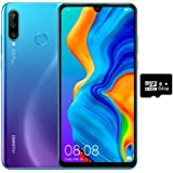 "Huawei P30 Lite (128GB, 4GB RAM) 6.15"" Display, AI Triple Camera, 32MP Selfie, Dual SIM GSM Factory Unlocked MAR-LX3A - US & Global 4G LTE International Version (Peacock Blue, 128GB + 64GB SD Bundle)"