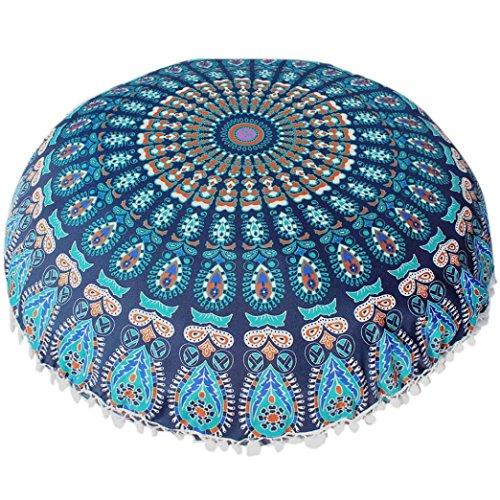 Woaills Home Goods,100% Polyester Round Bohemian Pillow Covers Floor Chair Seat Cushion Case With Hidden Zipper (Floor 4 100 Floors Halloween)