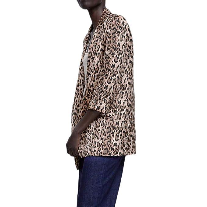 Amazon.com: Kulywon Leopard Blazer - Chaqueta para mujer ...
