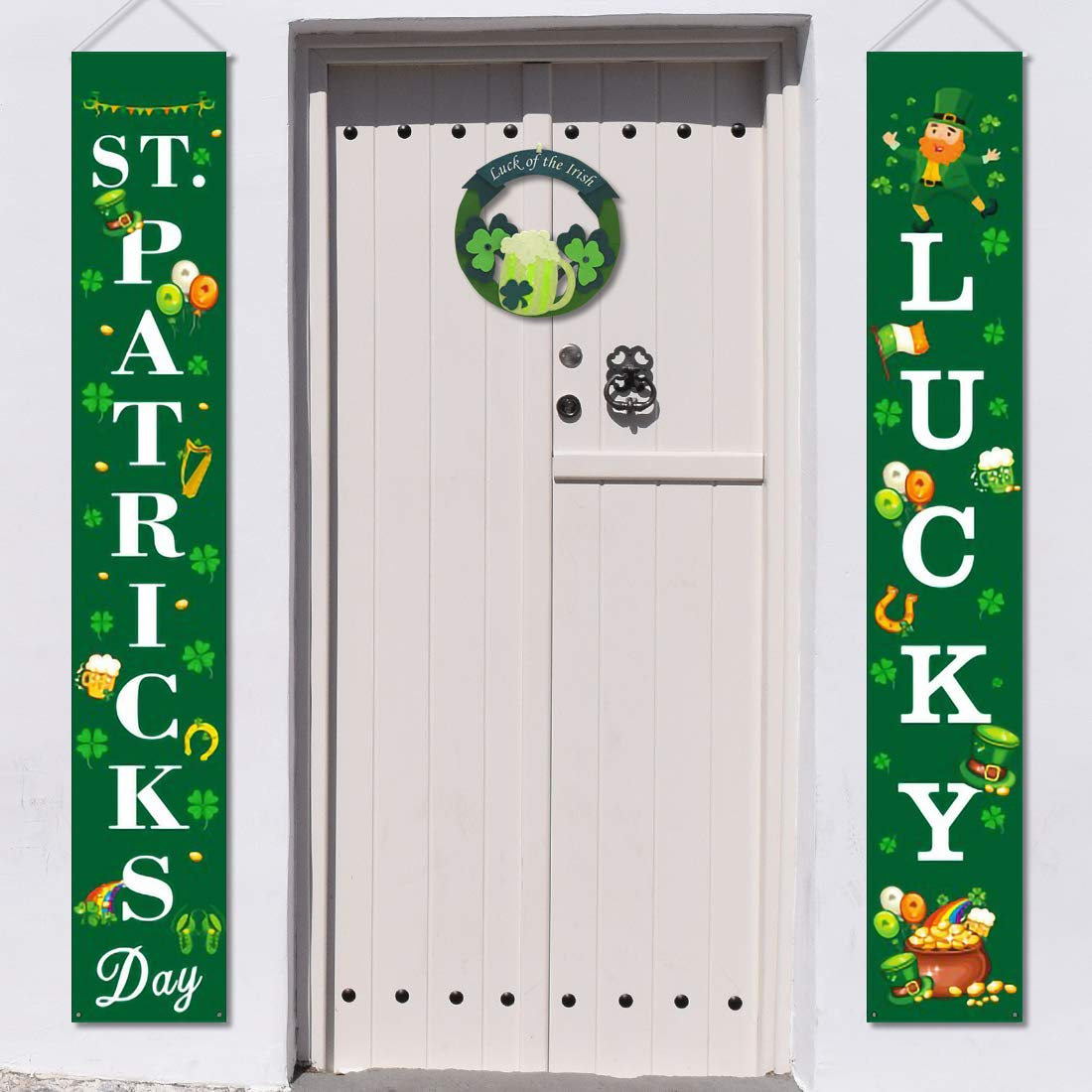 St Patricks Porch Sign St Patrick Day Banner with Happy St Patricks