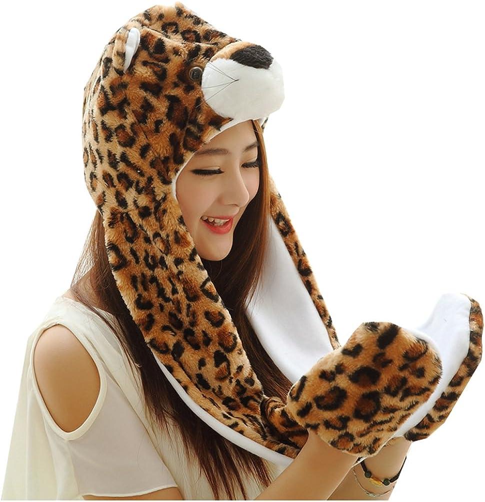 Meta-U Long Animal Faux Fur Hat Hood//Scarf//Snood//Gloves All in one