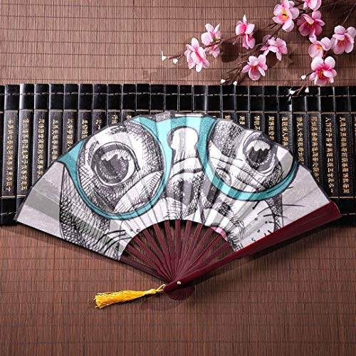 SGFDH Fan Bamboo Cute Dog Funny with Glasses with Bamboo Frame Tassel Pendant and Cloth Bag Folding Fan Werk Folding Fan Handle Japanese Hand Held Fan -
