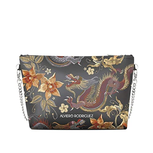 426ff4a78e Alviero Rodriguez Borsa Donna Diva Bag Japanese Dragon Giappone Oriente in Vera  Pelle (Catena Argento): Amazon.it: Scarpe e borse