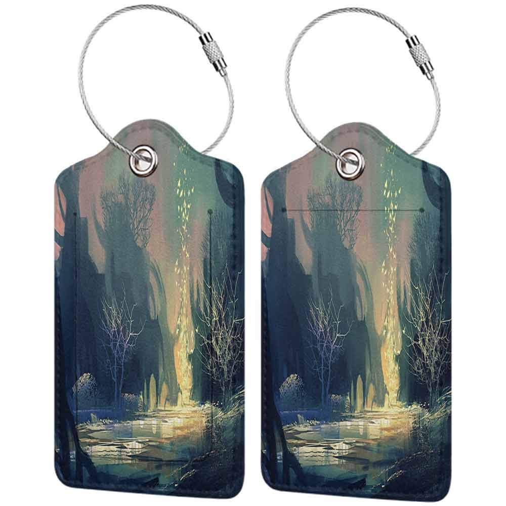 Modern luggage tag Fantasy Art House Decor Mysterious Tree Roots in Dark Scary Enchanted Forest by the Lake Print Suitable for children and adults Multi W2.7 x L4.6