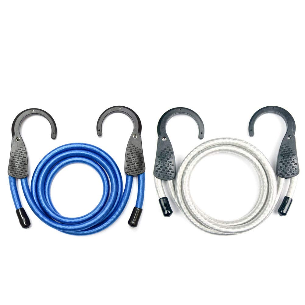Micagos 48-Inch Blue/Black Adjustable Bungee Cord with Extra Wide Opening Steel Hooks (Multi-coloured)