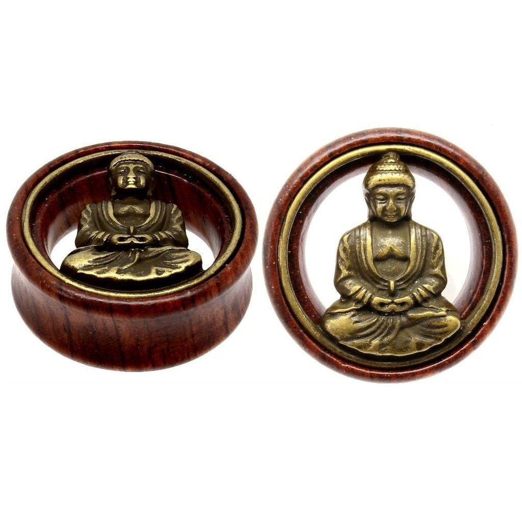 Oasis Plus Brass Buddha Organic Wood Tunnels Double Flared Ear Stretcher Saddle Plugs Gauge 16mm