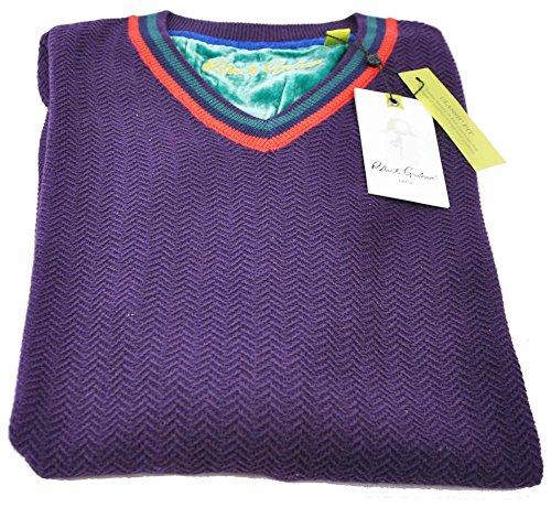 robert-graham-mens-medium-purple-long-sleeve-v-neck-pullover-sweater