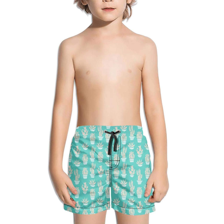 Kids Unisex red Christmas Cactus Beach Swim Trunks Quick Drying Drawstring Shorts