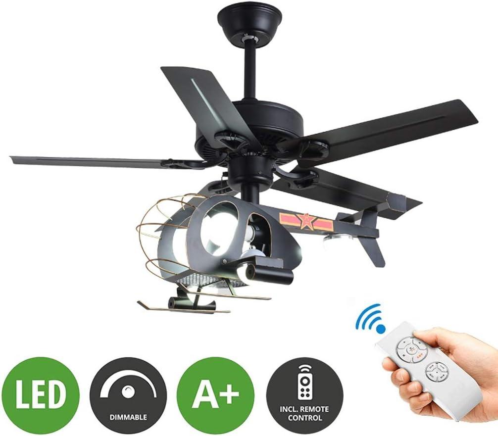 Lzcyn Dormitorio Ventilador de techo nuevo helicóptero Forma de abanico Luces de niños de la lámpara de 25W LED con ventilador de techo control remoto Protección de los ojos de atenuación con la ilumi