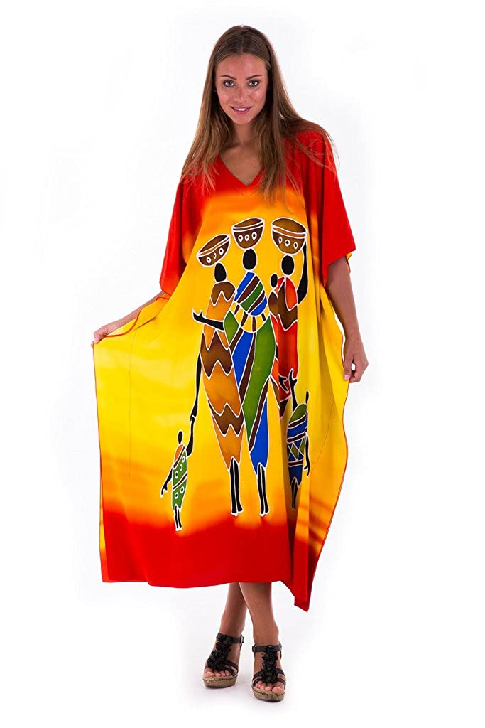 Family Sunshine SHUSHI Womens Long Caftan Dress Hand Paint Tribal Design Swimwear Cover Up Kaftan