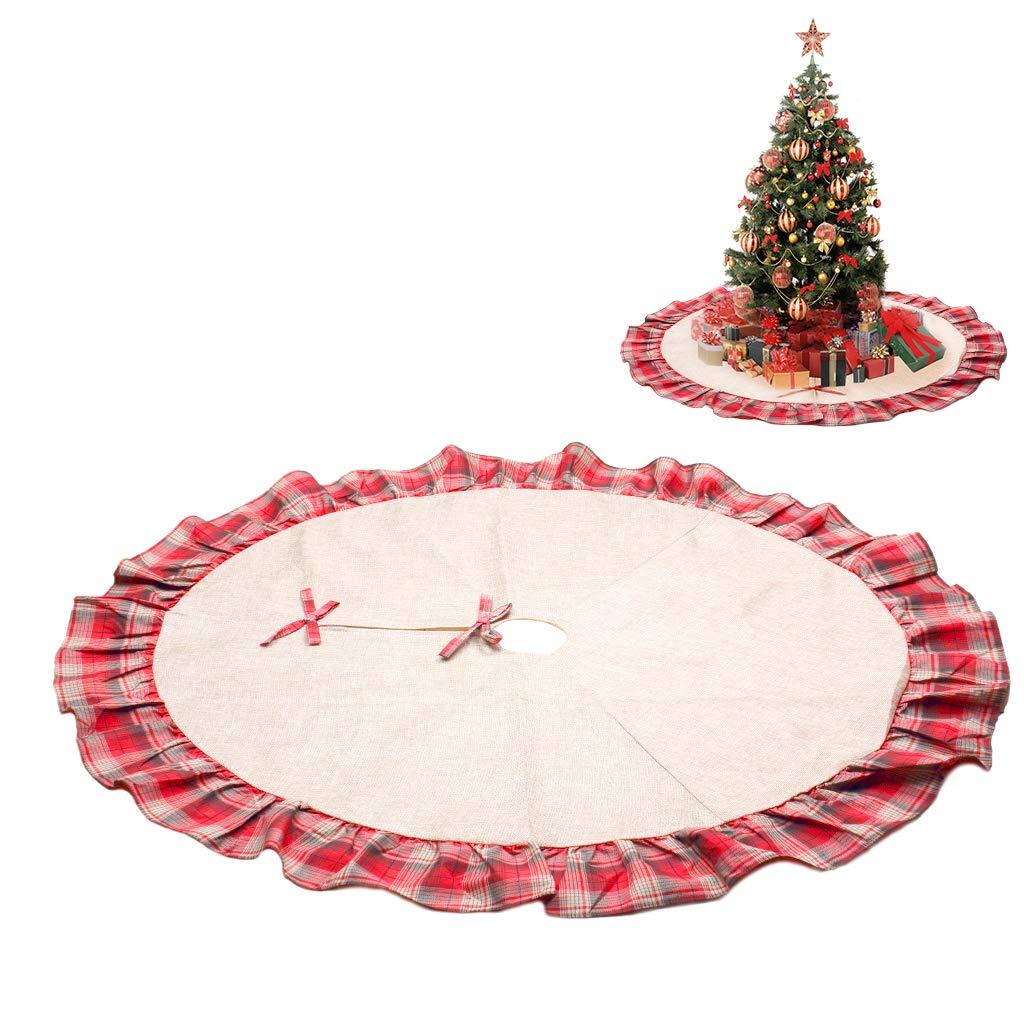 OWUDE Gonna Albero di Natale da 48 Pollici, Copertura Tela di Lino Tela di Lino Gonna Albero di Natale con Bordo in Tartan Scozzese, Gonna Albero Stile Pastorale Rosso e Nero per Feste Natalizie