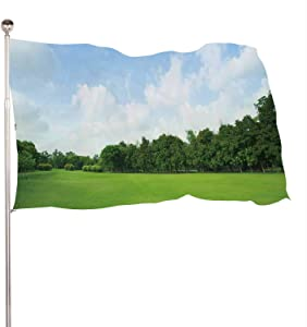 Dxichy Landscape of Grass Field and Green Environment Public Park use as Natural,Banner Flags with Grommets for Decor Vivid Color and UV Fade Resistant Backdrop 3x5 Ft