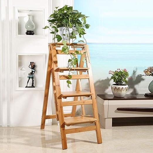 GOG Taburete, escalera plegable Taburetes Escaleras Soporte de flores de interior de doble uso Estante para zapatos de 4 capas Escaleras de bambú: Amazon.es: Bricolaje y herramientas