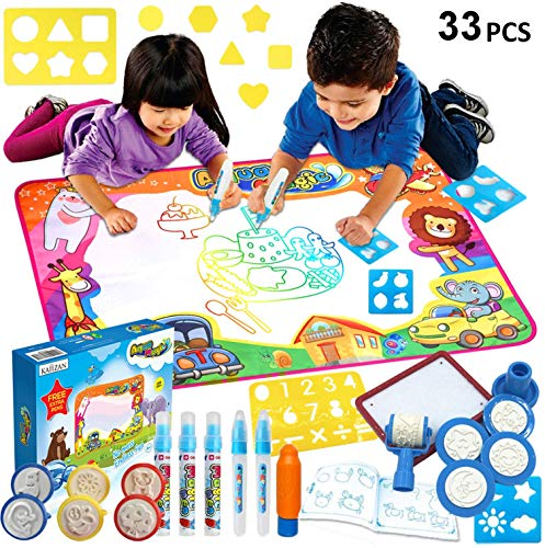 Aqua Magic Mat 33pcs - Kids Painting Writing Doodle Board Toy - Color Doodle Drawing Mat Bring Magic Pens Educational Toys for Age 1 2 3 4 5 6 7 8 9 10 11 12 Year Old Girls Boys Age Toddler