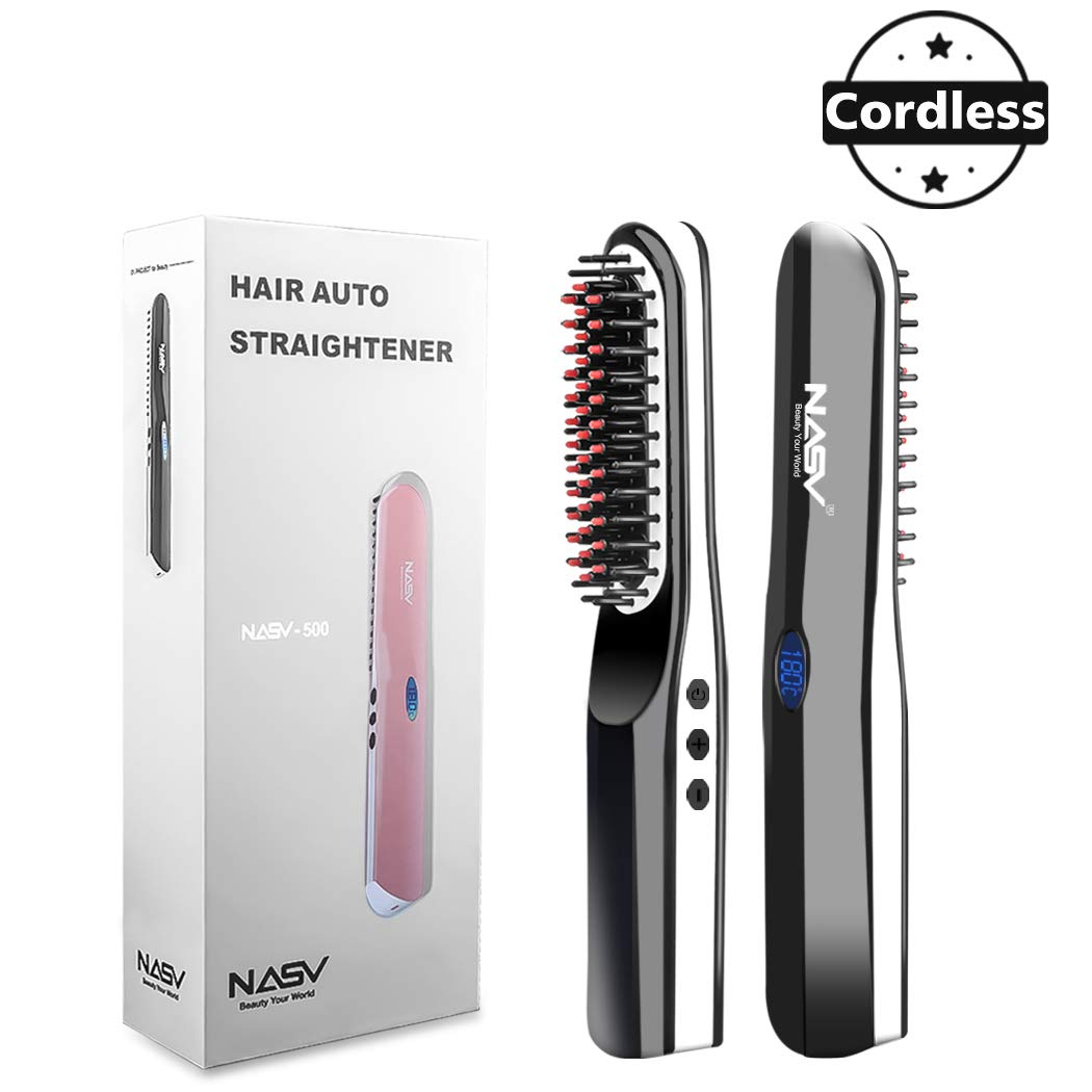 Beard Straightener Brush, Suntee Hair Straightening Brush with Cordless/Anti Scald/Auto Shut Off/Mini Sized for Travel/Home, 2 in 1 Multifunctional Hair Comb Curling Iron for Men Women