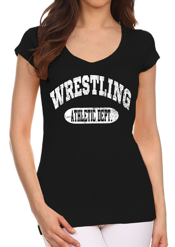 Interstate Apparel Inc Junior's Wrestling Athletic Dept. Black V-Neck T-Shirt X-Large Black