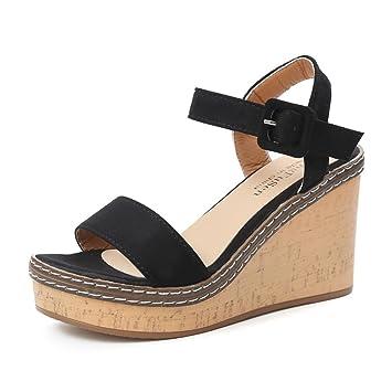 a18c5de32cc4 JJLOVE Women Vision-75 Ankle Strap Open Toe Heeled High Heels Wedge Sandals  Buckle Slope