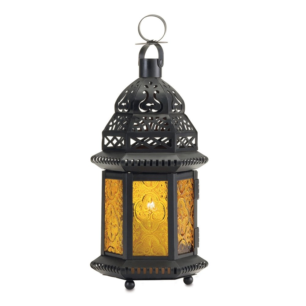 Gifts & Decor Yellow Glass Moroccan Lantern Candle Holder Light Decor Furniture Creations 37437