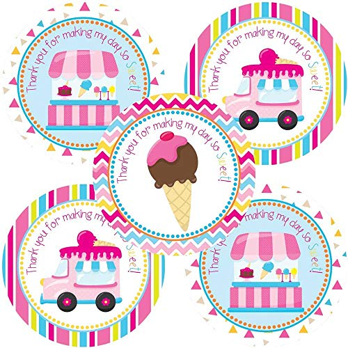 Ice Cream Party Thank You Sticker Labels - Girls Party Favor Labels and Envelope Seals - Set of -